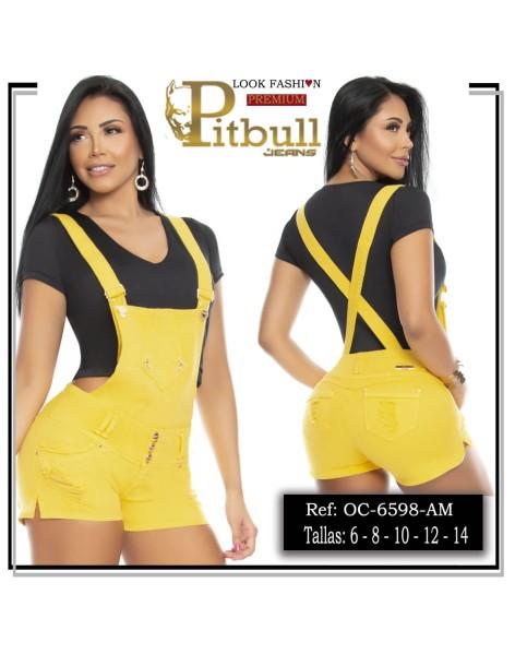 overol short pitbull amarillo oc6598